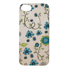 Whimsical Flowers Blue Apple iPhone 5S Hardshell Case
