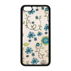 Whimsical Flowers Blue Apple Iphone 5c Seamless Case (black)