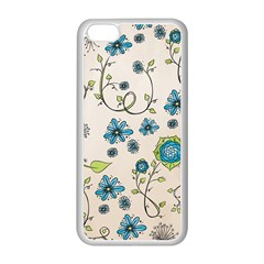Whimsical Flowers Blue Apple Iphone 5c Seamless Case (white)