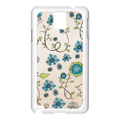 Whimsical Flowers Blue Samsung Galaxy Note 3 N9005 Case (White)