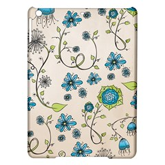 Whimsical Flowers Blue Apple iPad Air Hardshell Case