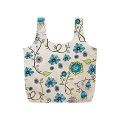 Whimsical Flowers Blue Reusable Bag (s)