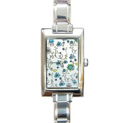 Blue Whimsical Flowers  On Blue Rectangular Italian Charm Watch