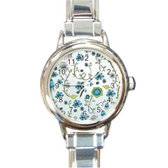 Blue Whimsical Flowers  on blue Round Italian Charm Watch