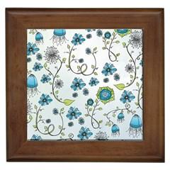 Blue Whimsical Flowers  On Blue Framed Ceramic Tile
