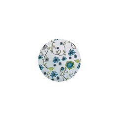Blue Whimsical Flowers  on blue 1  Mini Button Magnet