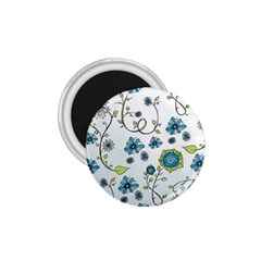 Blue Whimsical Flowers  on blue 1.75  Button Magnet
