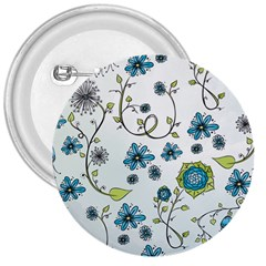 Blue Whimsical Flowers  on blue 3  Button