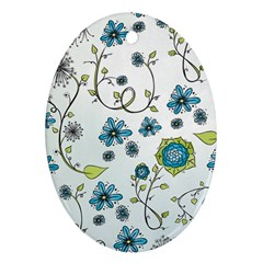 Blue Whimsical Flowers  on blue Oval Ornament