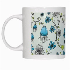 Blue Whimsical Flowers  on blue White Coffee Mug