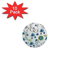 Blue Whimsical Flowers  on blue 1  Mini Button (10 pack)