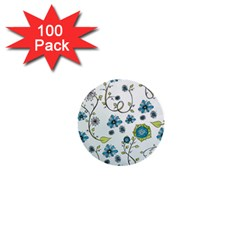 Blue Whimsical Flowers  on blue 1  Mini Button (100 pack)