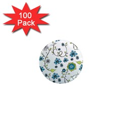 Blue Whimsical Flowers  On Blue 1  Mini Button Magnet (100 Pack)