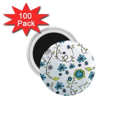 Blue Whimsical Flowers  on blue 1.75  Button Magnet (100 pack)