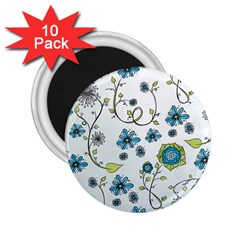 Blue Whimsical Flowers  on blue 2.25  Button Magnet (10 pack)