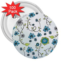 Blue Whimsical Flowers  on blue 3  Button (100 pack)