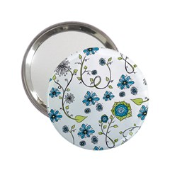 Blue Whimsical Flowers  On Blue Handbag Mirror (2 25 )