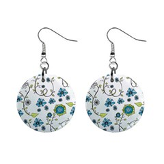 Blue Whimsical Flowers  on blue Mini Button Earrings