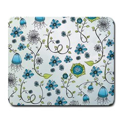 Blue Whimsical Flowers  On Blue Large Mouse Pad (rectangle)