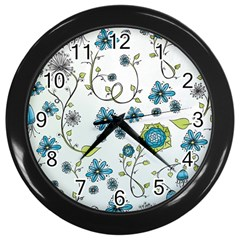 Blue Whimsical Flowers  on blue Wall Clock (Black)
