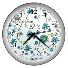 Blue Whimsical Flowers  On Blue Wall Clock (silver)