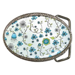 Blue Whimsical Flowers  on blue Belt Buckle (Oval)