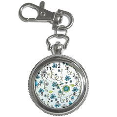 Blue Whimsical Flowers  on blue Key Chain Watch