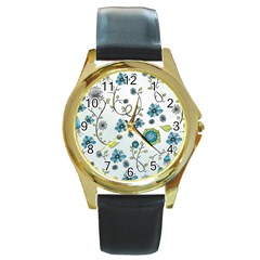 Blue Whimsical Flowers  on blue Round Leather Watch (Gold Rim)
