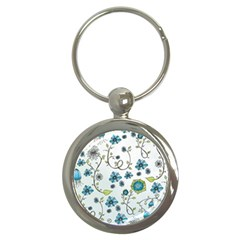 Blue Whimsical Flowers  on blue Key Chain (Round)