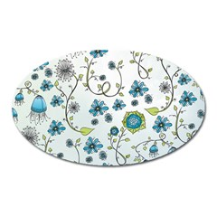 Blue Whimsical Flowers  on blue Magnet (Oval)