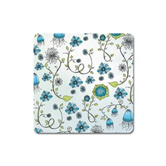 Blue Whimsical Flowers  on blue Magnet (Square)