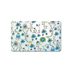 Blue Whimsical Flowers  on blue Magnet (Name Card)