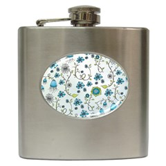 Blue Whimsical Flowers  on blue Hip Flask