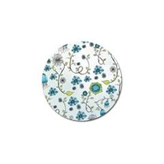 Blue Whimsical Flowers  on blue Golf Ball Marker 10 Pack