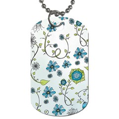 Blue Whimsical Flowers  on blue Dog Tag (Two-sided)