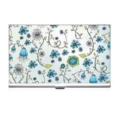 Blue Whimsical Flowers  on blue Business Card Holder