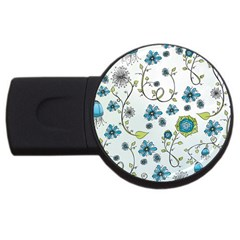 Blue Whimsical Flowers  on blue 1GB USB Flash Drive (Round)