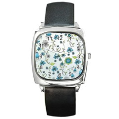 Blue Whimsical Flowers  on blue Square Leather Watch