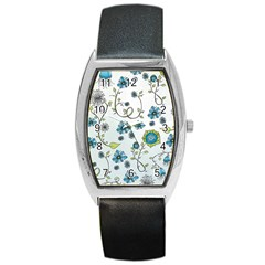 Blue Whimsical Flowers  on blue Tonneau Leather Watch