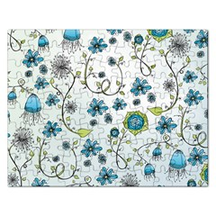 Blue Whimsical Flowers  on blue Jigsaw Puzzle (Rectangle)
