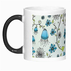 Blue Whimsical Flowers  on blue Morph Mug