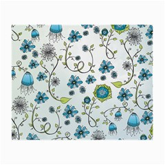 Blue Whimsical Flowers  On Blue Glasses Cloth (small)