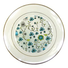 Blue Whimsical Flowers  on blue Porcelain Display Plate