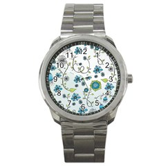 Blue Whimsical Flowers  On Blue Sport Metal Watch