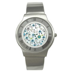 Blue Whimsical Flowers  On Blue Stainless Steel Watch (slim)