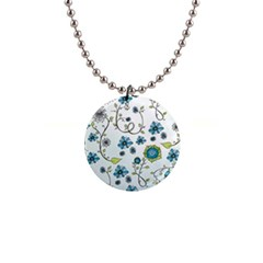 Blue Whimsical Flowers  on blue Button Necklace