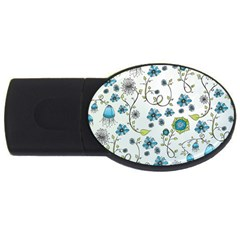 Blue Whimsical Flowers  On Blue 4gb Usb Flash Drive (oval)