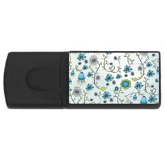 Blue Whimsical Flowers  on blue 4GB USB Flash Drive (Rectangle)