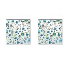 Blue Whimsical Flowers  on blue Cufflinks (Square)