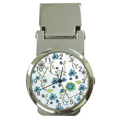 Blue Whimsical Flowers  On Blue Money Clip With Watch